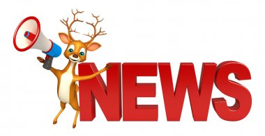Deer cartoon character with news sign and loudseaker