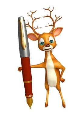 Deer cartoon character with pen