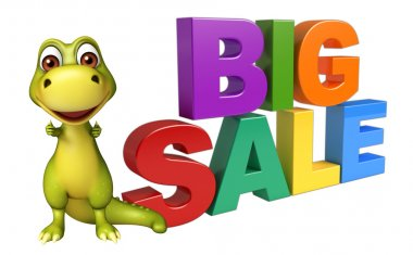 Dinosaur cartoon character with big sale sign