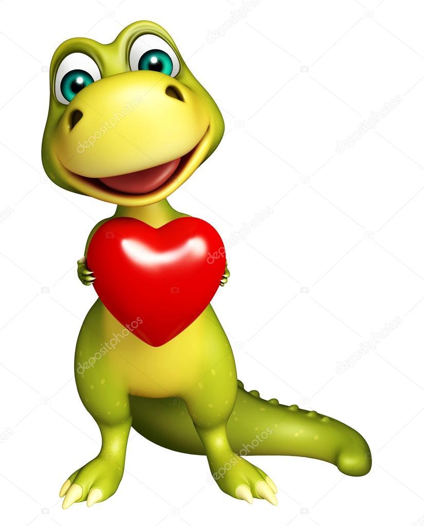 Simpatico personaggio dei cartoni animati di dinosauro con