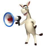 Photo Donkey cartoon character  with loudspeaker