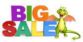 Drak kreslená postava s velkým prodej znamení