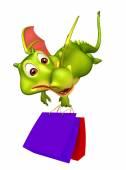 roztomilá kreslená postava Dragon s nákupní taškou