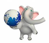 Fun  Elephant cartoon character with earth — стоковое фото #104067162