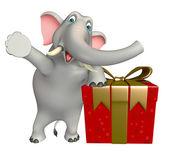 roztomilý slon kreslená postava s dárkový box