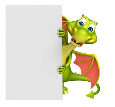cute Dragon cartoon character with white board