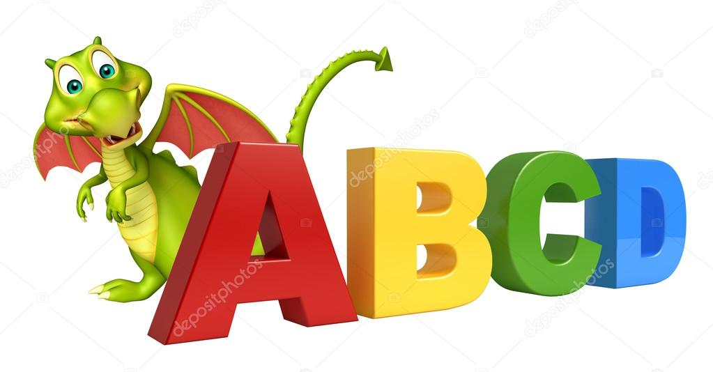 3d rendered illustration of Dragon cartoon character with ABCD sign stock vector