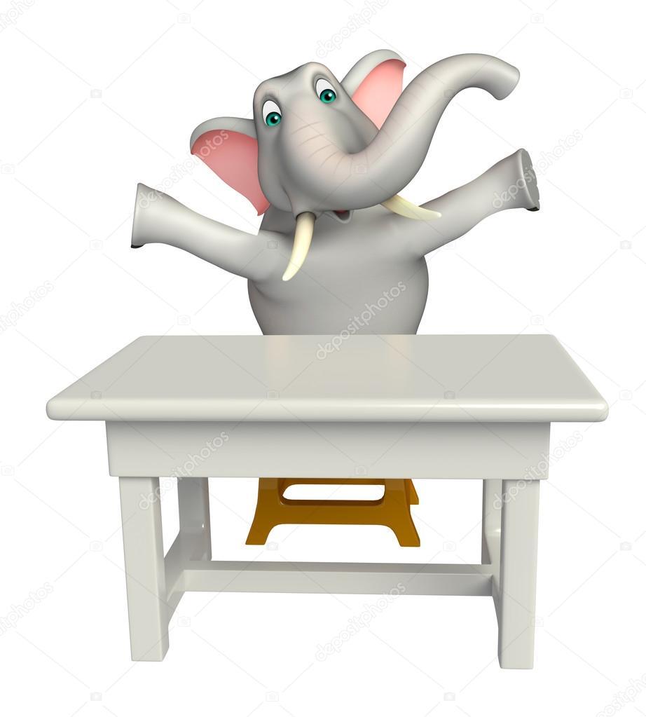 Divertente personaggio dei cartoni animati di elefante con tavolo e