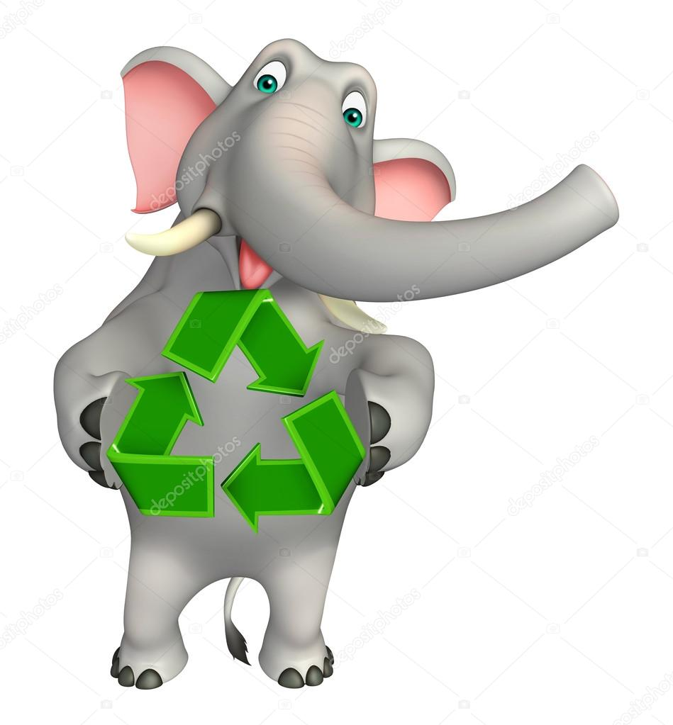divertido elefante personagem de desenho animado com reciclagem