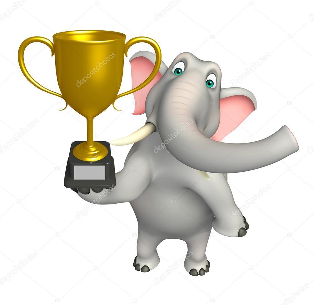 Divertente personaggio dei cartoni animati di elefante con tazza