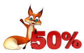 Photo fun Fox cartoon character with 50% sign