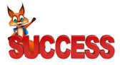 Photo fun Fox cartoon character with success sign
