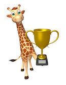 roztomilé žirafy kreslená postava s vítězný pohár