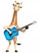 süße Giraffe Cartoon-Charakter mit Gitarre