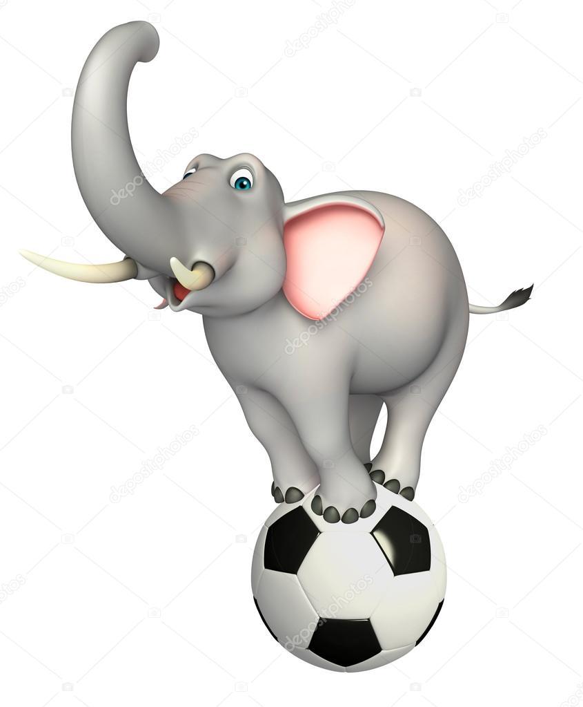 Divertente personaggio dei cartoni animati di elefante con calcio