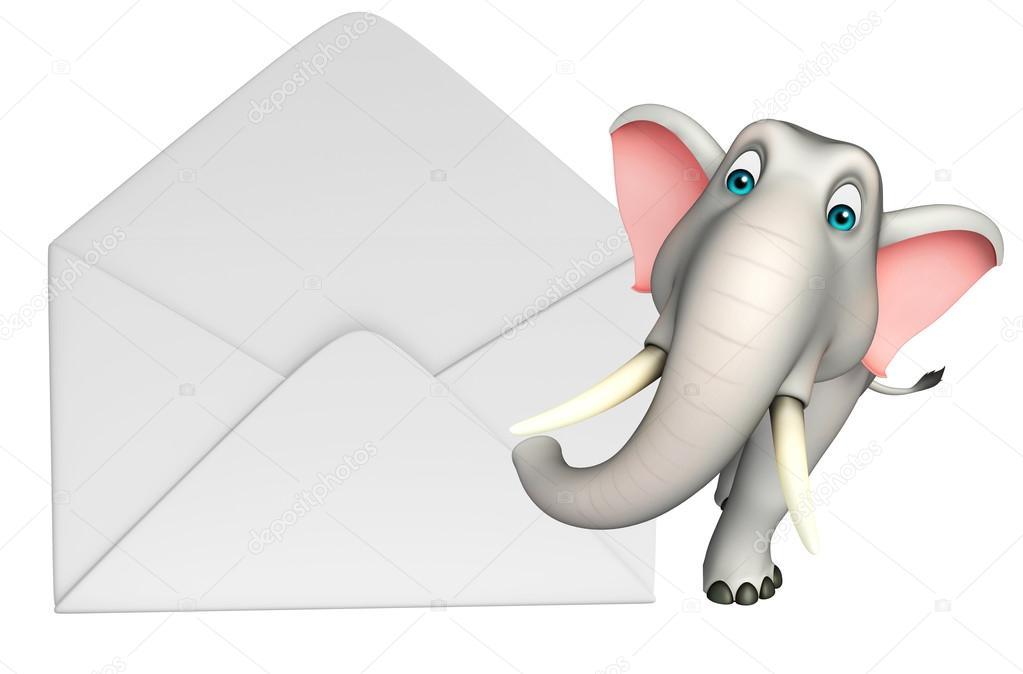Divertente personaggio dei cartoni animati di elefante con posta