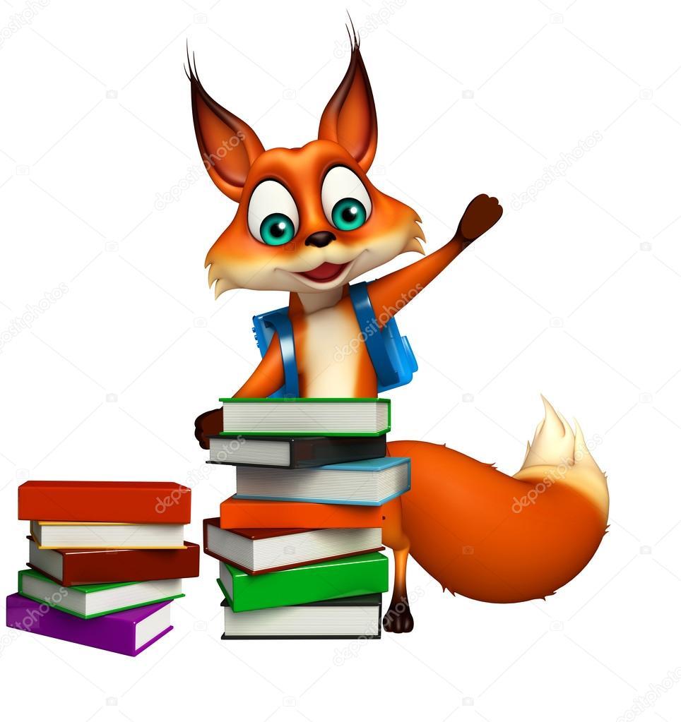 Amusant personnage de dessin anim fox avec pile de livre et sac d 39 cole photographie - Image de personnage de manga ...
