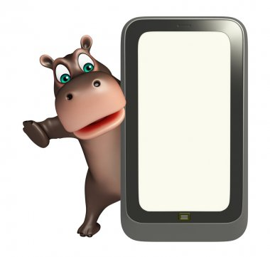 fun Hippo cartoon character   with mobile