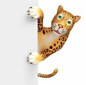 Photo fun Leopard cartoon character with  board