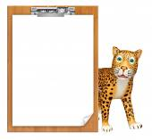 Leopard cartoon character with exam pad