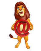 Fotografie Lion cartoon character with at the rate