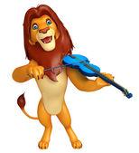 Löwen-Cartoon-Figur mit Violine