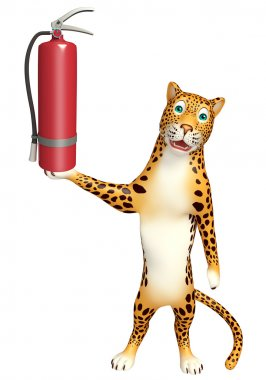 Leopard cartoon character with fire extinguishing