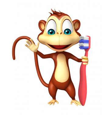 fun Monkey cartoon character with tooth brush