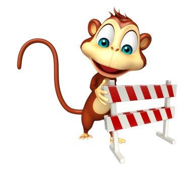 Monkey cartoon character with baracade