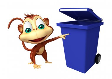 fun Monkey cartoon character with dustbin