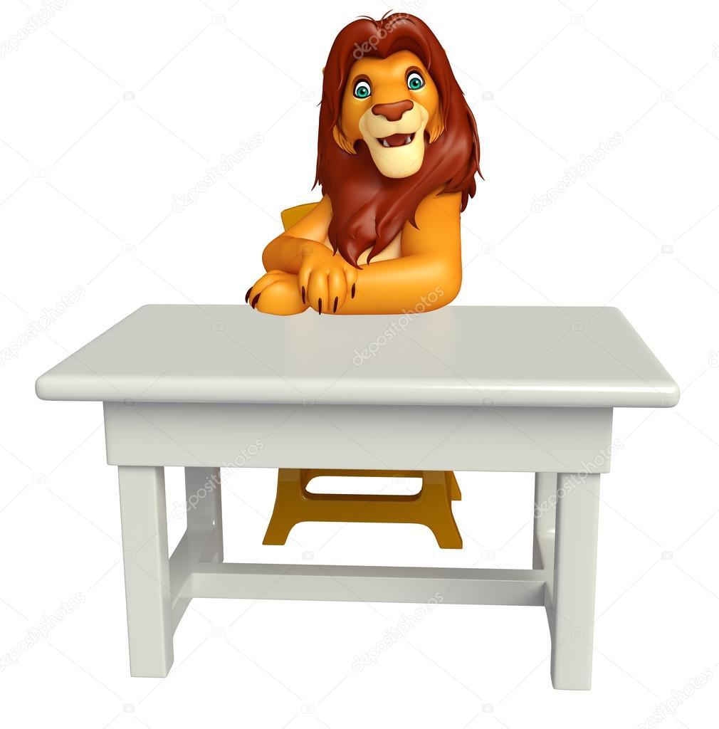 Photographie Chaise Table Et Caractère Cartoon — Lion Avec sCBrdthQx