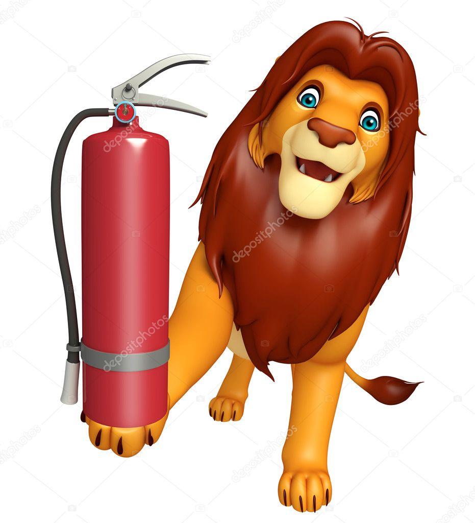 Divertente personaggio dei cartoni animati del leone con l