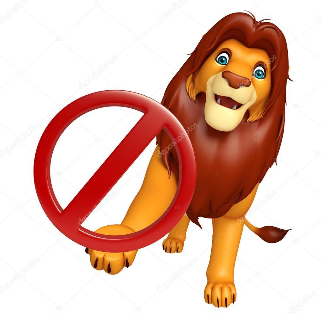 一時停止の標識を持つ文字を漫画のライオン ストック写真