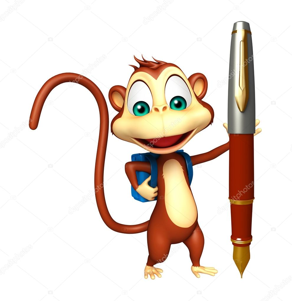 cute monkey cartoon character with school bag and pen