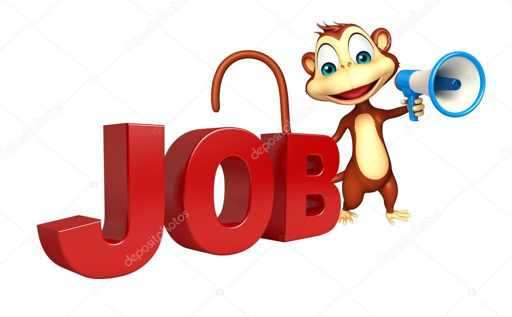 Personaggio dei cartoni animati di scimmia con il segno di posti di