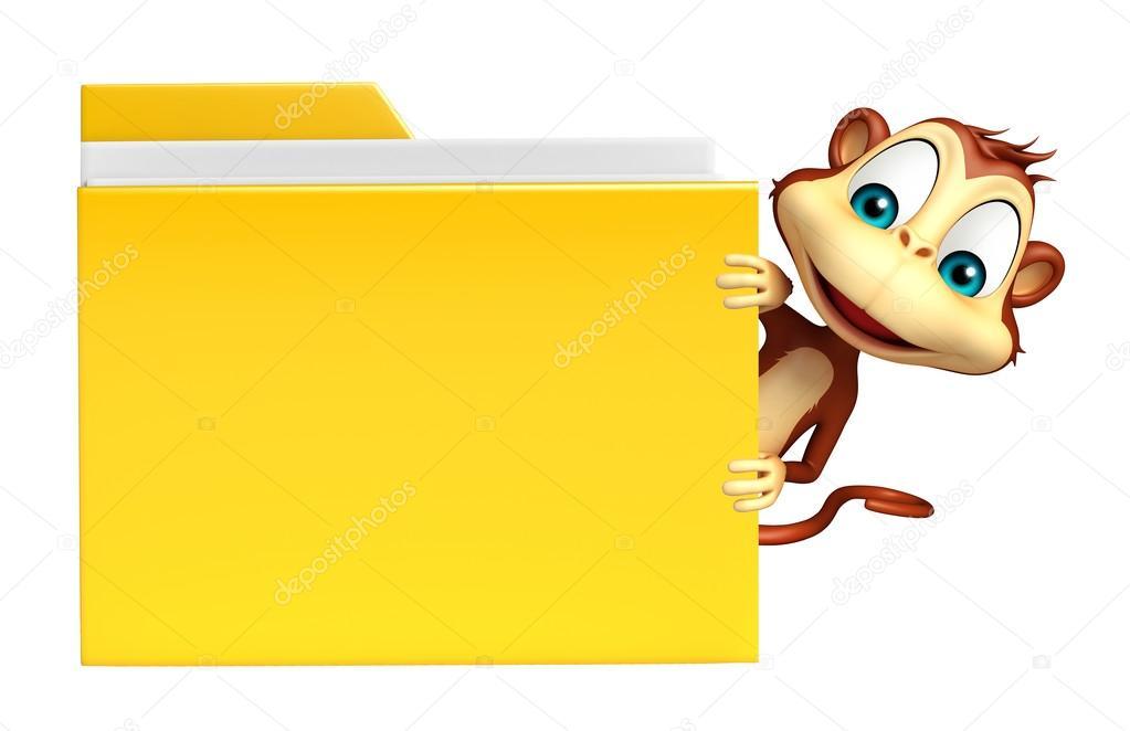 Divertente personaggio dei cartoni animati di scimmia con cartella