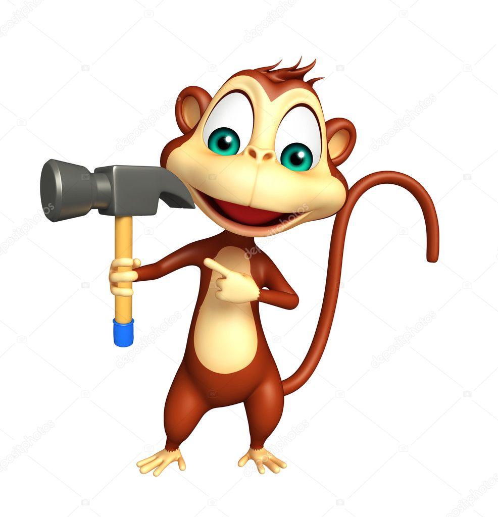 Personaggio dei cartoni animati di scimmia con il martello u2014 foto