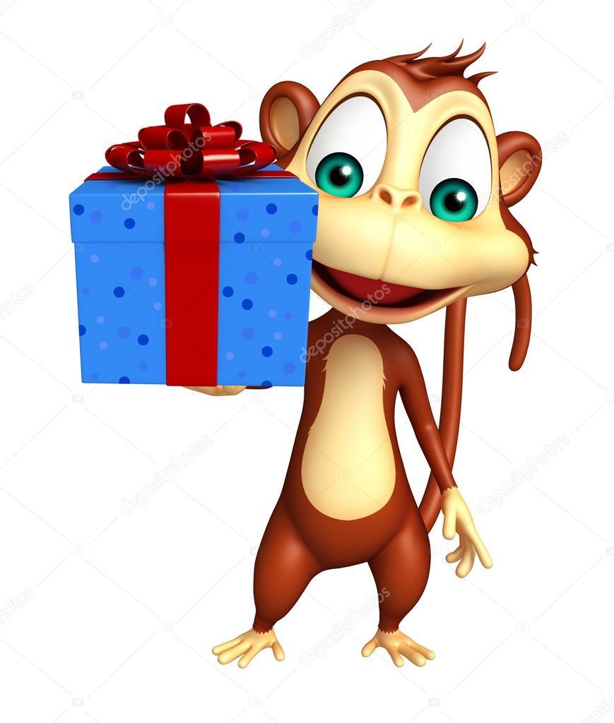 Personaggio dei cartoni animati di scimmia con giftbox u2014 foto stock