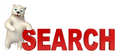 fun  Polar bear cartoon character with search sign