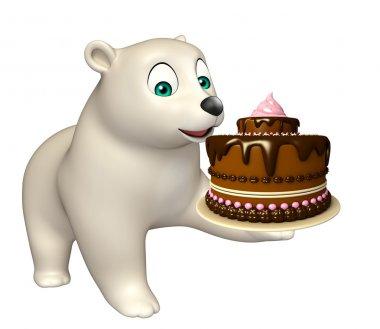 Polar bear cartoon character with cake