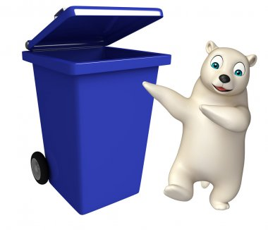 cute Polar bear cartoon character with dustbin