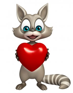 3d rendered illustration of Raccoon cartoon character with heart stock vector