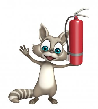 fun Raccoon cartoon character with fire extinguisher
