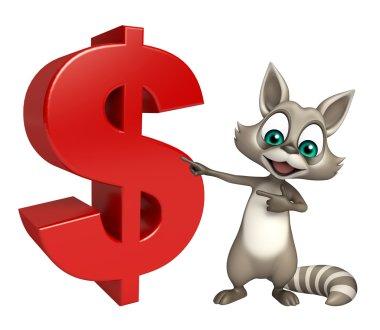 Raccoon cartoon character with dollar sign