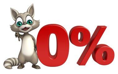 fun Raccoon cartoon character with % sign