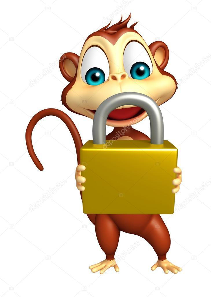 Divertente personaggio dei cartoni animati di scimmia con serratura