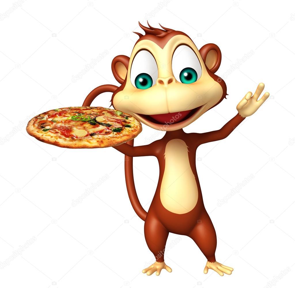 Personaggio dei cartoni animati di scimmia con pizza u2014 foto stock