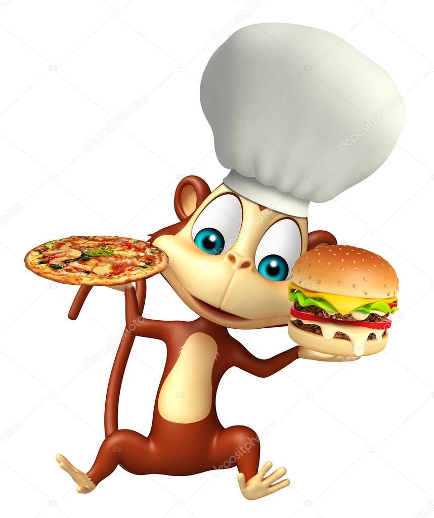 Personagem de desenho animado macaco com pizza e