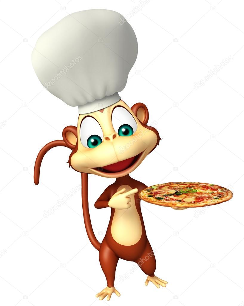 Personaggio dei cartoni animati di scimmia con pizza e cappello da