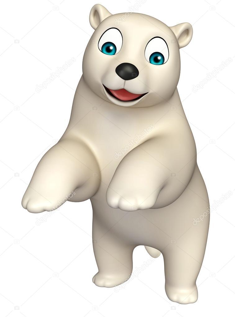 Personaggio dei cartoni animati dell orso polare che salta u foto